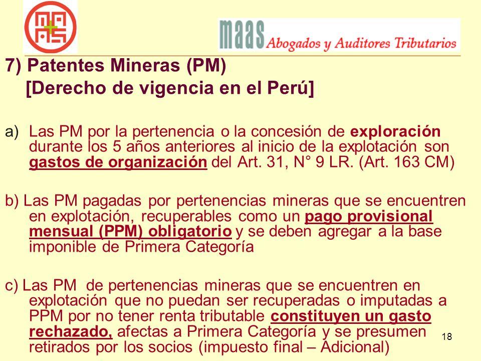 7) Patentes Mineras (PM) [Derecho de vigencia en el Perú]